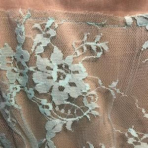 Lace blue and tan blouse.